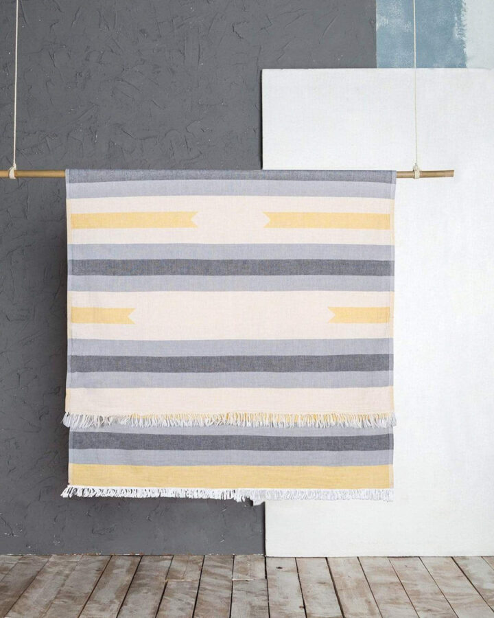 Turkish beach towel with grey and yellow stripes