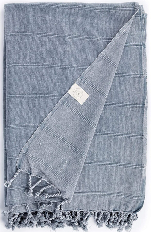 Turkish beach towel in stonewashed gray