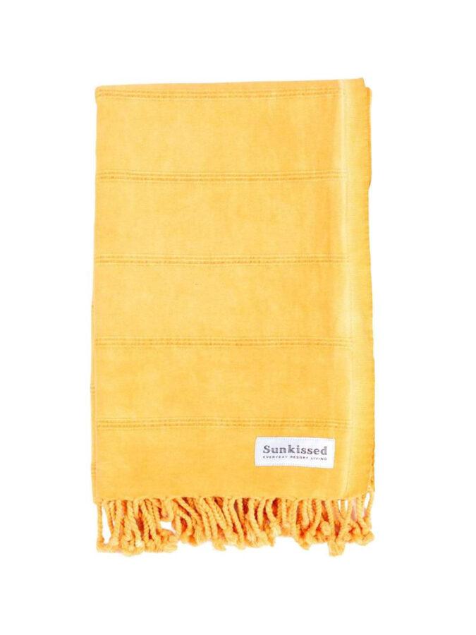 yellow turkish beach towel