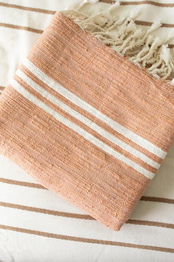 cute peach beach towel with tassels