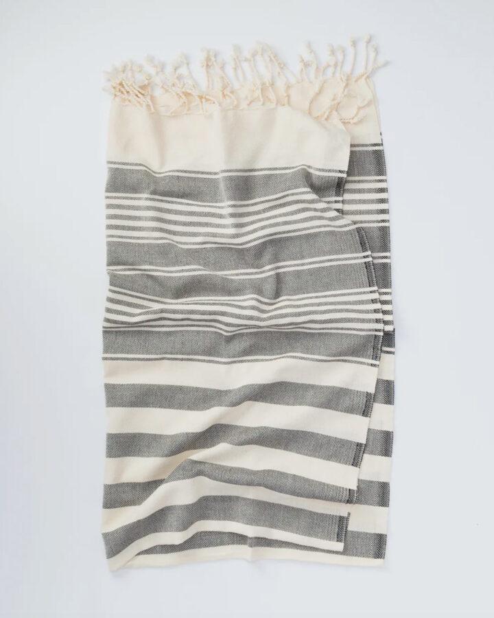 Turkish beach towel with gray stripes