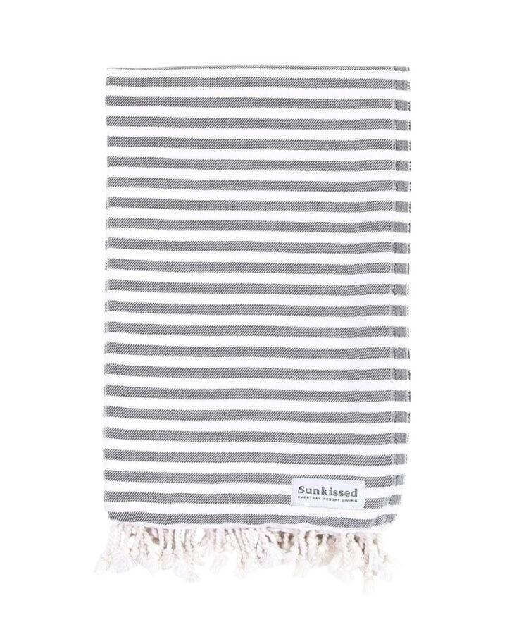 black and white striped Turkish beach towel