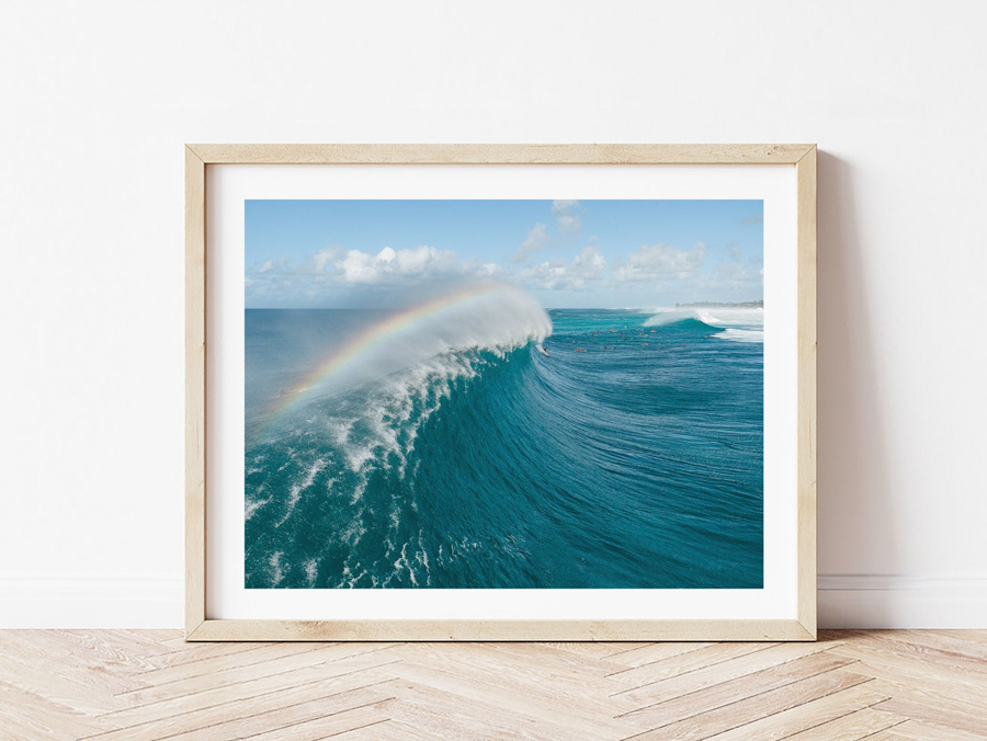 Surf photo art print of rainbow in large wave
