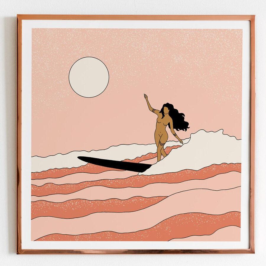 wave art - surfer girl surfing a wave