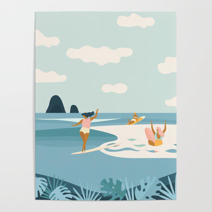 art print of surfer girls surfing waves
