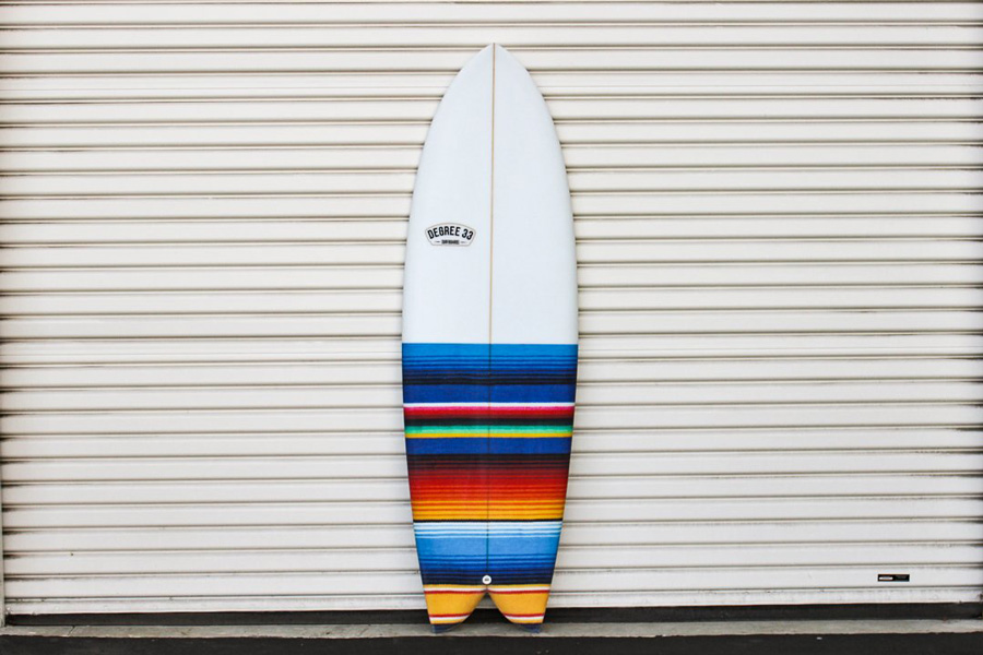Fish surfboard with Mexican blanket design