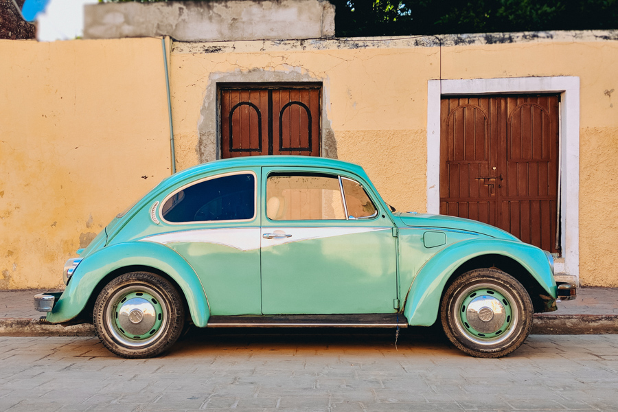 Turquoise VW bug in Mexico